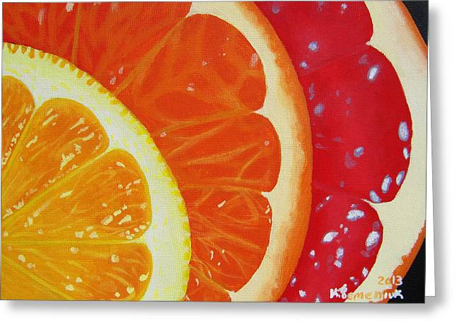 Sour Greeting Cards - Citrus Hue Greeting Card by Kayleigh Semeniuk