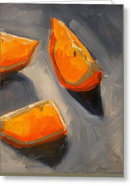 Dark Gray Blue Greeting Cards - Citrus Mix Up Greeting Card by Nancy Merkle