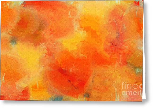 Citrus Passion - Abstract - Digital Painting Greeting Card by Andee Design