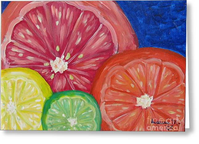 Citrus Slices Greeting Card by Laurie Morgan