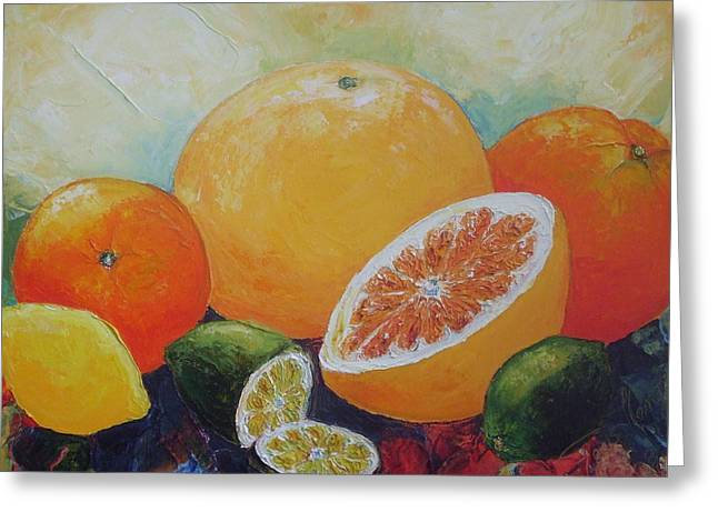 Paris Wyatt Llanso Greeting Cards - Citrus Splash Greeting Card by Paris Wyatt Llanso