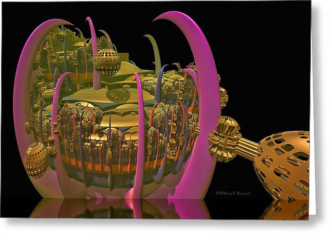 Fractal Globes Greeting Cards - City 22 Greeting Card by Deborah Benoit
