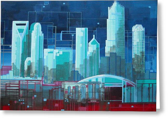 Charlotte Paintings Greeting Cards - City 44 Queen City III Greeting Card by Carol Joy Shannon