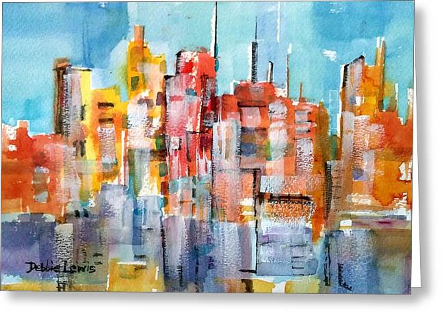 Imaginary City Greeting Cards - City Abstraction Greeting Card by Debbie  Lewis