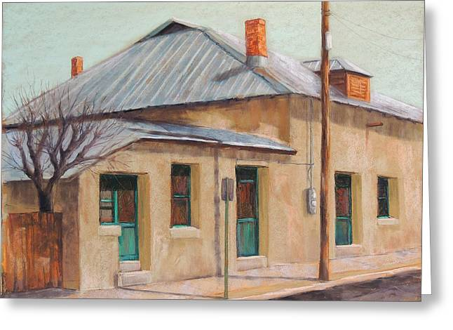 Tin Roof Greeting Cards - City Adobe and Tin Greeting Card by Candy Mayer