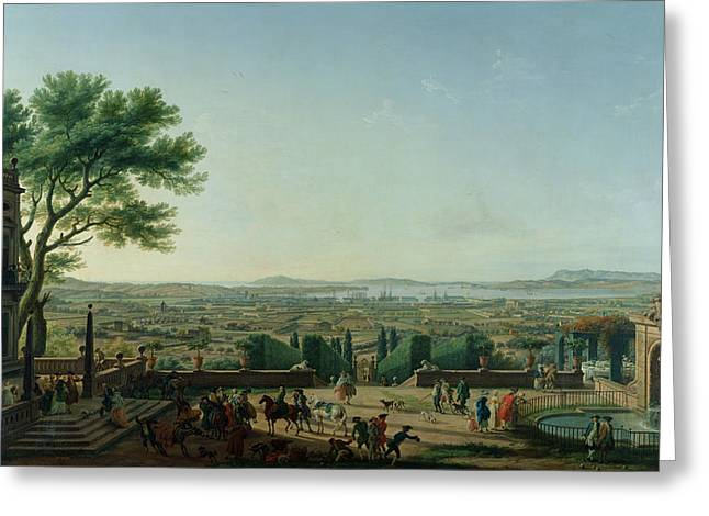 Social Life Photographs Greeting Cards - City And Port Of Toulon, 1756 Oil On Canvas Greeting Card by Claude Joseph Vernet
