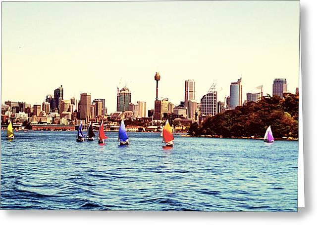Sailing Boat Pyrography Greeting Cards - City and Sailing boat Greeting Card by Girish J