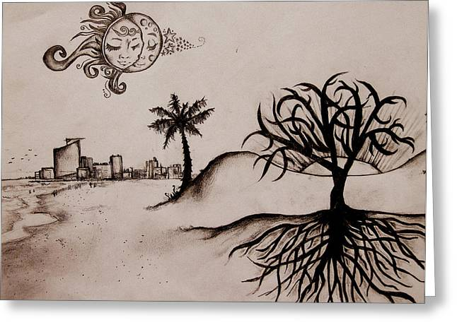 Moon Beach Drawings Greeting Cards - City and Sand Greeting Card by Mary McCusker