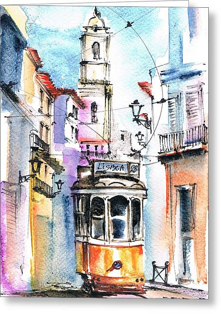 Prague Paintings Greeting Cards - City And Train Greeting Card by Turdean Mircea