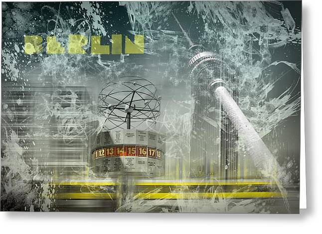 Colorspot Greeting Cards - City-Art BERLIN Alexanderplatz  Greeting Card by Melanie Viola