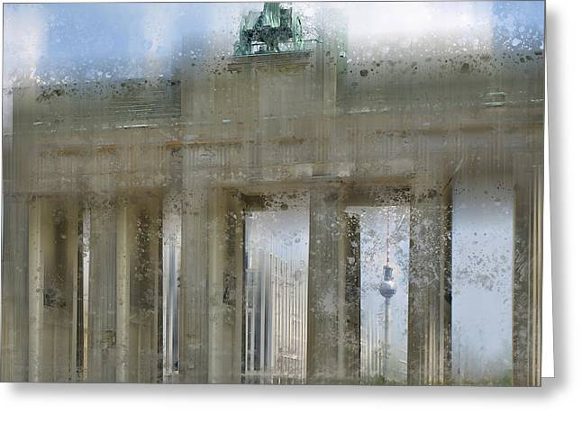 Tor Greeting Cards - City-Art BERLIN Brandenburg Gate Greeting Card by Melanie Viola