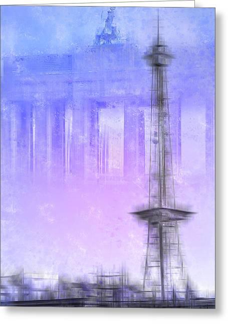 West Berlin Greeting Cards - City-Art BERLIN Radio Tower and Brandenburg Gate blue/pink Greeting Card by Melanie Viola