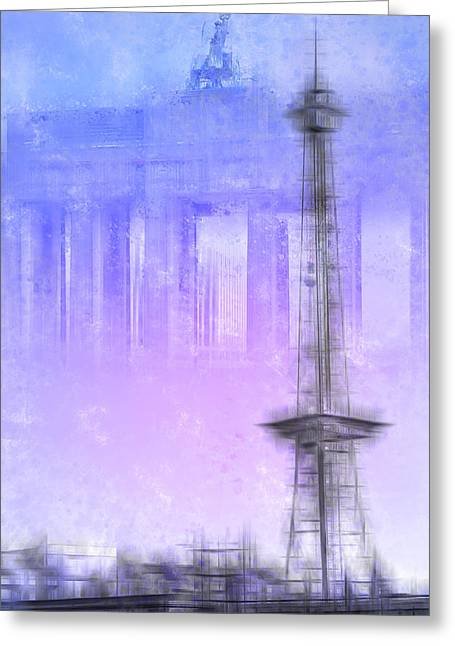 Watch Tower Greeting Cards - City-Art BERLIN Radio Tower and Brandenburg Gate blue/pink Greeting Card by Melanie Viola