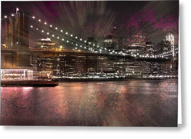 Evening Lights Digital Art Greeting Cards - City-Art BROOKLYN BRIDGE Greeting Card by Melanie Viola