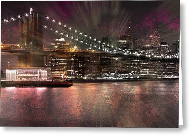 Sightseeing Digital Greeting Cards - City-Art BROOKLYN BRIDGE Greeting Card by Melanie Viola