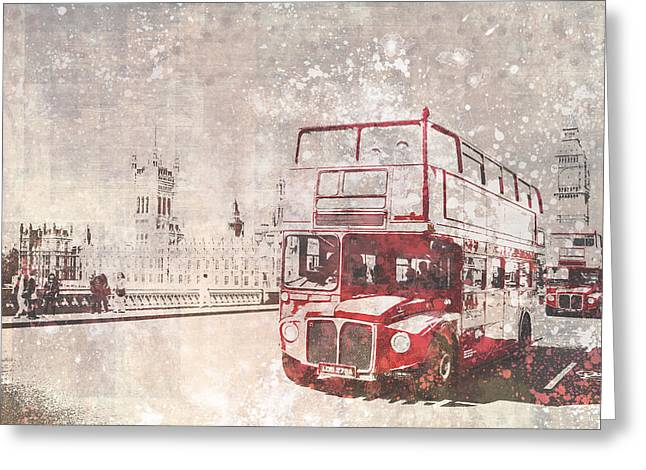 Gb Greeting Cards - City-Art LONDON Red Buses II Greeting Card by Melanie Viola