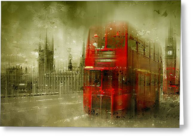 Famous Bridge Greeting Cards - City-Art LONDON Red Buses Greeting Card by Melanie Viola