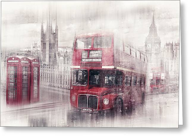 Bus Greeting Cards - City-Art LONDON Westminster Collage II Greeting Card by Melanie Viola