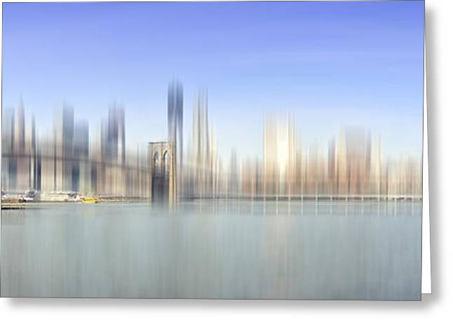 Famous Bridge Greeting Cards - City-Art MANHATTAN SKYLINE I Greeting Card by Melanie Viola