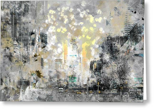 City-art Manhattan Sunflower Greeting Card by Melanie Viola