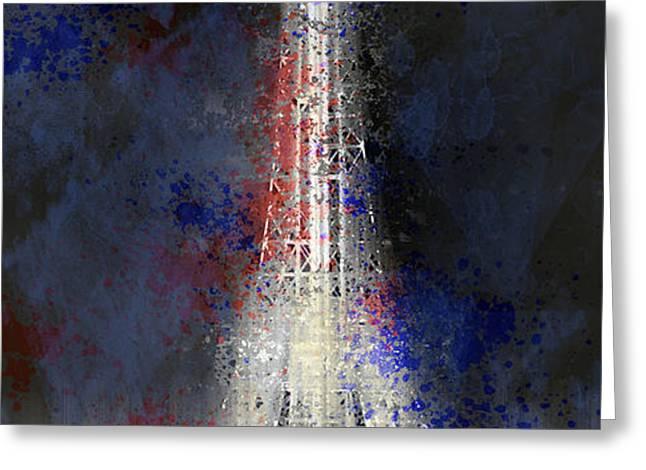 City-Art PARIS Eiffel Tower in National Colours Greeting Card by Melanie Viola