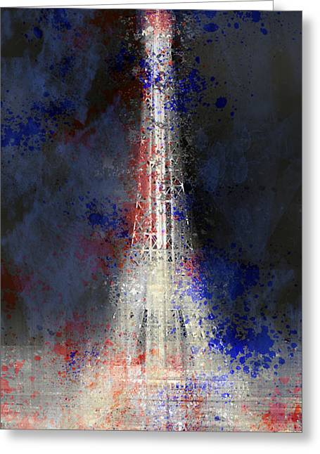 Broadcast Antenna Greeting Cards - City-Art PARIS Eiffel Tower in National Colours Greeting Card by Melanie Viola