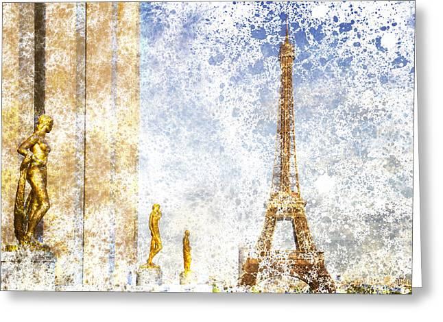 City-art Paris Eiffel Tower Greeting Card by Melanie Viola