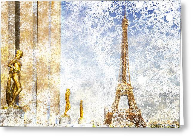 Historic Statue Digital Art Greeting Cards - City-Art PARIS Eiffel Tower Greeting Card by Melanie Viola