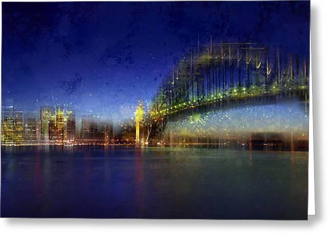 Stream Digital Art Greeting Cards - City-Art SYDNEY Greeting Card by Melanie Viola