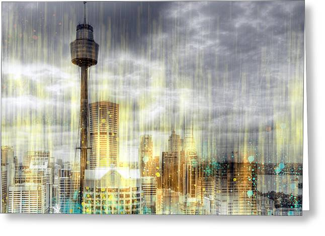 Colorspot Greeting Cards - City-Art SYDNEY Rainfall Greeting Card by Melanie Viola