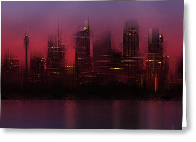 Colorspot Greeting Cards - City-Art SYDNEY Skyline Greeting Card by Melanie Viola