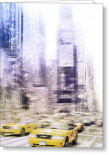 Times Square Digital Art Greeting Cards - City-Art TIMES SQUARE I Greeting Card by Melanie Viola