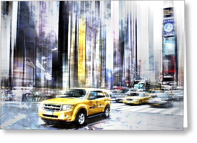 Composing Greeting Cards - City-Art TIMES SQUARE II Greeting Card by Melanie Viola