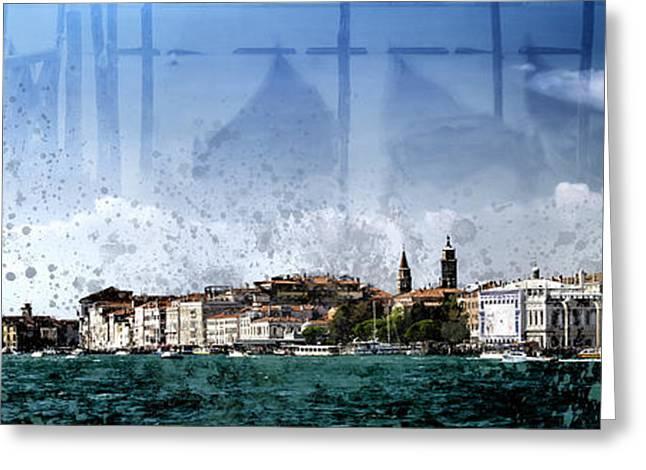 City-art Venice Panoramic Greeting Card by Melanie Viola