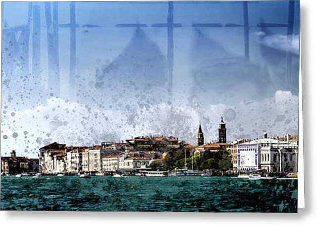 Watch Tower Greeting Cards - City-Art VENICE Panoramic Greeting Card by Melanie Viola