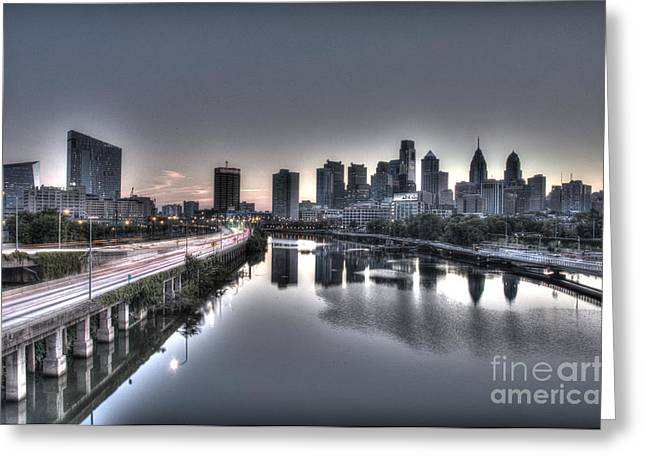 Williams Dam Greeting Cards - City at Dawn Greeting Card by Mark Ayzenberg