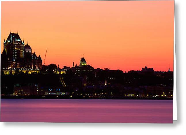 Chateau Greeting Cards - City At Dusk, Chateau Frontenac Hotel Greeting Card by Panoramic Images
