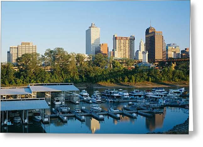 Tennessee River Greeting Cards - City At Dusk, Memphis, Tennessee, Usa Greeting Card by Panoramic Images