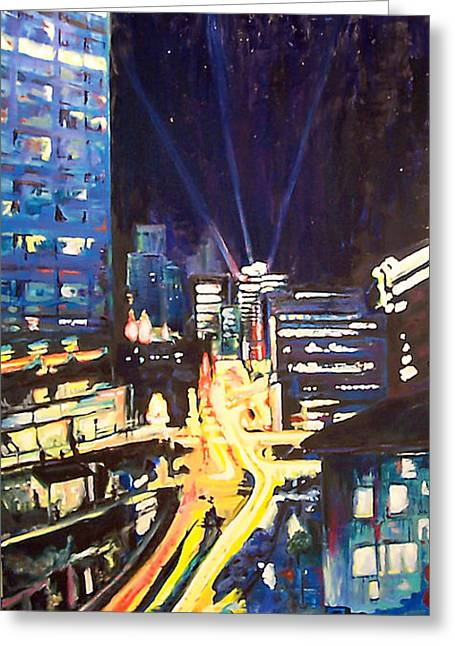 Exposure Paintings Greeting Cards - City at Night Greeting Card by Alan Schwartz