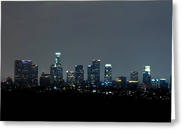 City At Night Greeting Card by Andrew Raby