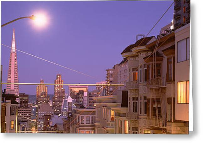 Night Lamp Greeting Cards - City At Night, San Francisco Greeting Card by Panoramic Images
