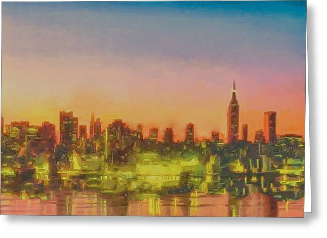 Reflecting Buildings Greeting Cards - City At Sunset Greeting Card by Anthony Caruso