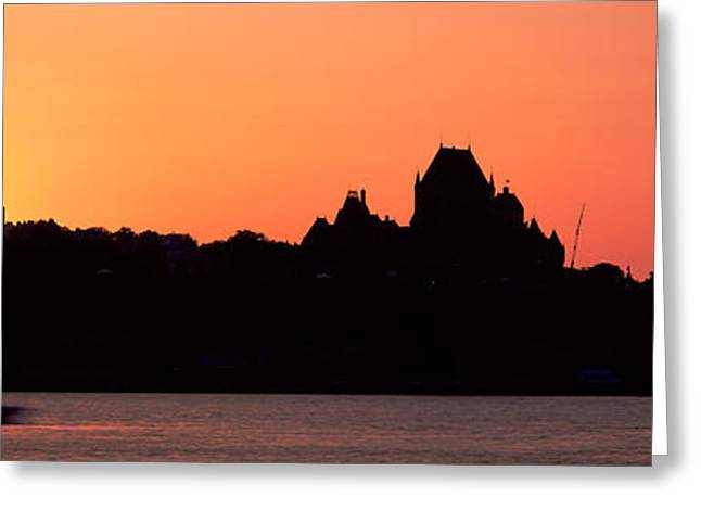 Grand Hotel Greeting Cards - City At Sunset, Chateau Frontenac Greeting Card by Panoramic Images