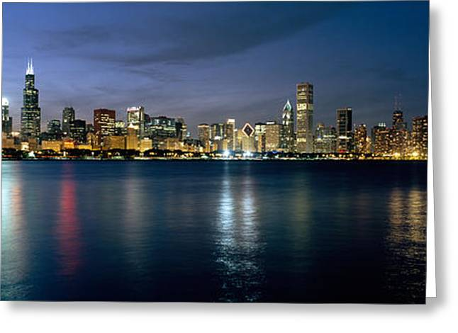 Planetarium Greeting Cards - City At The Waterfront, Chicago, Cook Greeting Card by Panoramic Images