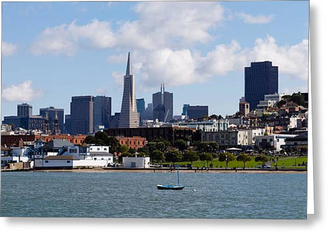 San Francisco Bay Greeting Cards - City At The Waterfront, Coit Tower Greeting Card by Panoramic Images
