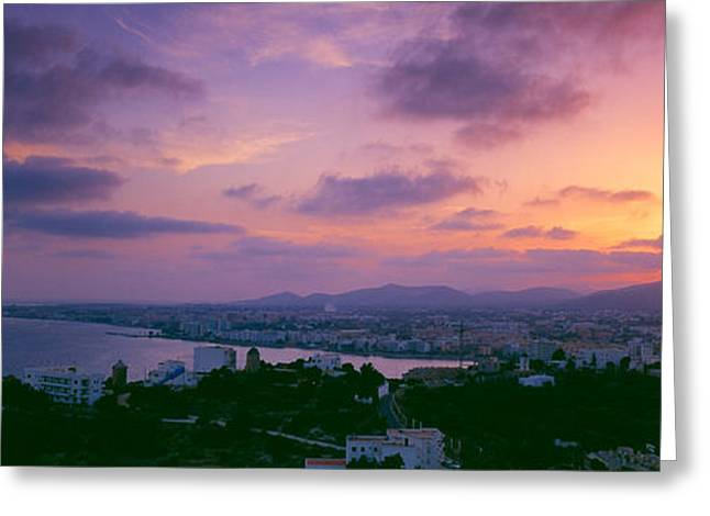Ibiza Greeting Cards - City At The Waterfront During Sunset Greeting Card by Panoramic Images