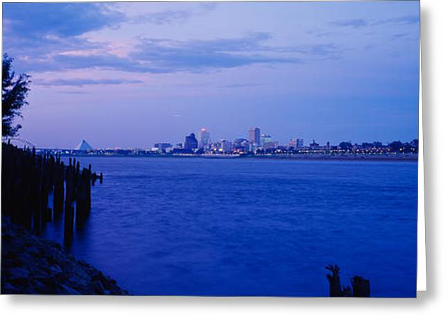 Mississippi River Scene Greeting Cards - City At The Waterfront, Mississippi Greeting Card by Panoramic Images