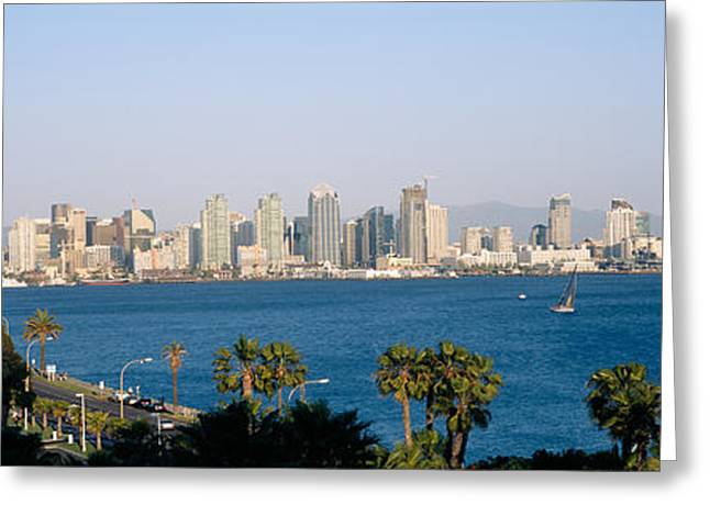 Sailboat Images Greeting Cards - City At The Waterfront, San Diego, San Greeting Card by Panoramic Images
