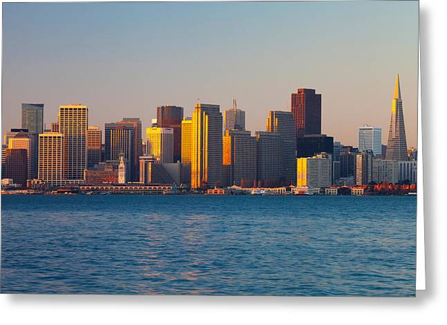 California Ocean Photography Greeting Cards - City At The Waterfront, San Francisco Greeting Card by Panoramic Images
