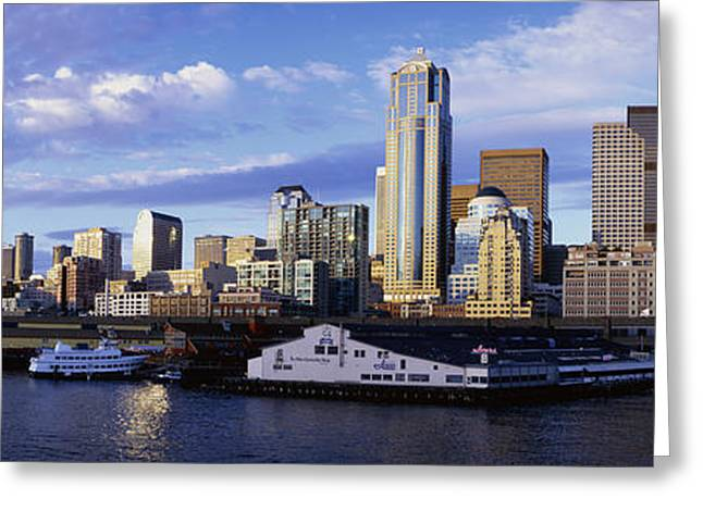 Overcast Day Greeting Cards - City At The Waterfront, Seattle Greeting Card by Panoramic Images